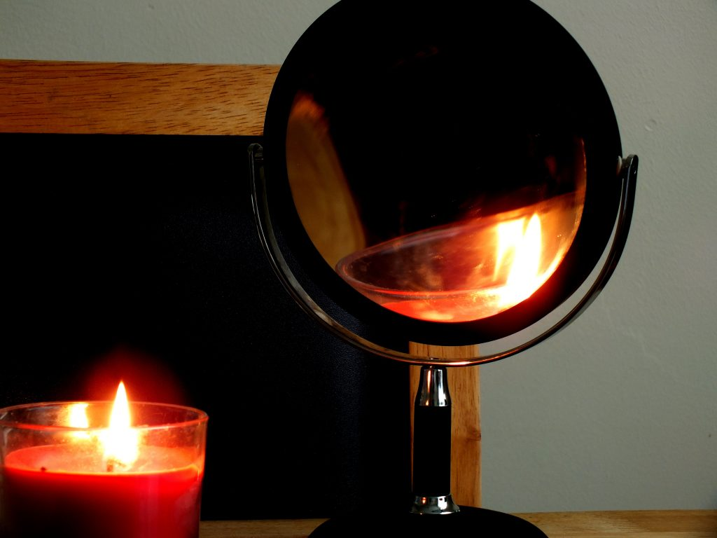 candle and mirror